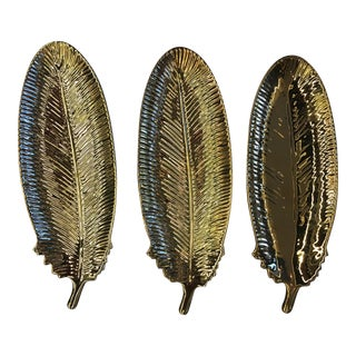 Gold Feather Plates - Set of 3