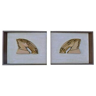 Mid-Century Modern Abstract Horse Plaque - Pair