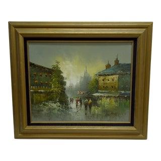 "Original Framed Painting on Board -- ""Walking"" -- by Atlas"