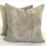 Image of Gray Batik Floral Pillows - Pair