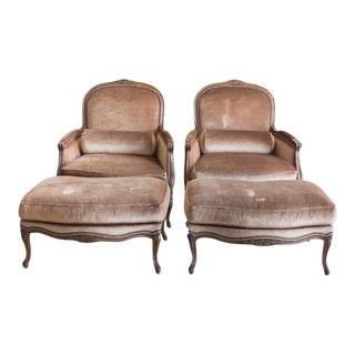 French Bergere Chair & Ottoman Set - A Pair