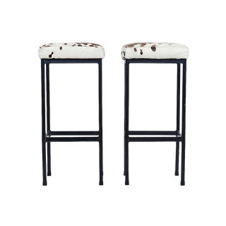 Mid-Century Retro Iron and Cowhide Barstools - A Pair