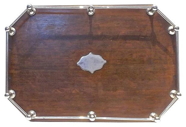 vintage wood serving trays vintage wood gallery serving tray chairish 6883