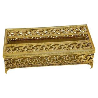 1950s Hollywood Regency Ormolu Filigree Tissue Box