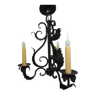 Decorative Rustic Wrought Iron Candle Style Chandelier 3 Bulb