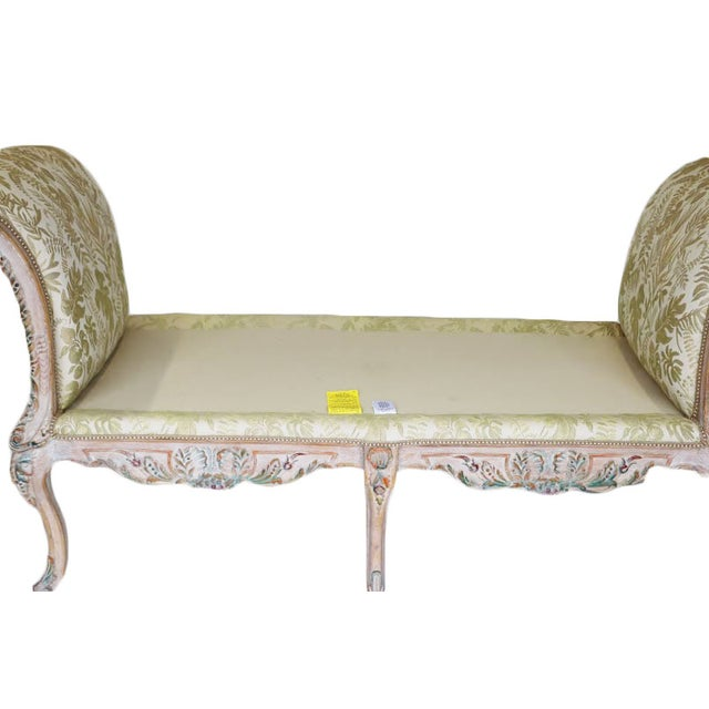 French style carved painted upholstered bench window seat