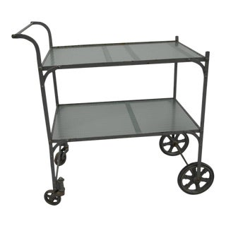 Tea Cart with Painted Steel Frame and Two Shelves of Rippled Glass