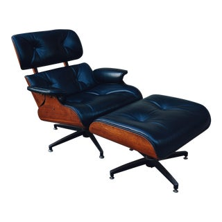 Vintage Black Leather Plycraft Lounge Chair & Ottoman - A Pair