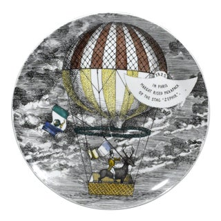 Vintage Piero Fornasetti Mongolfiere (hot air) Balloon Plate, #9 in Series 1950's.