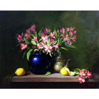 Alstroemeria, Lemons and Silver Teapot Painting