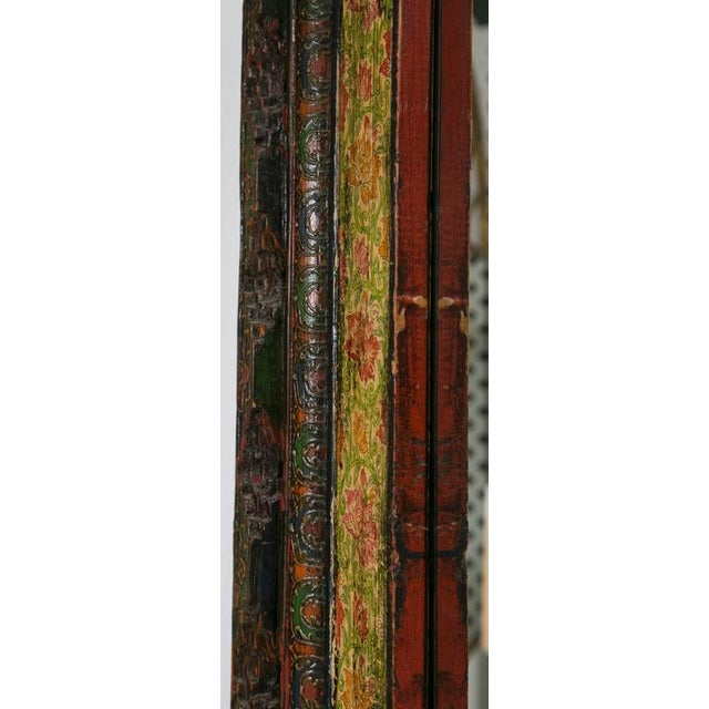 Image of Antique Tibetan Hand-Carved/Painted Door Mirror