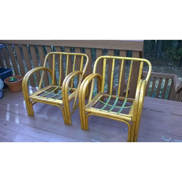 Vintage Bamboo Bentwood Rattan Chairs - A Pair - Image 2 of 10