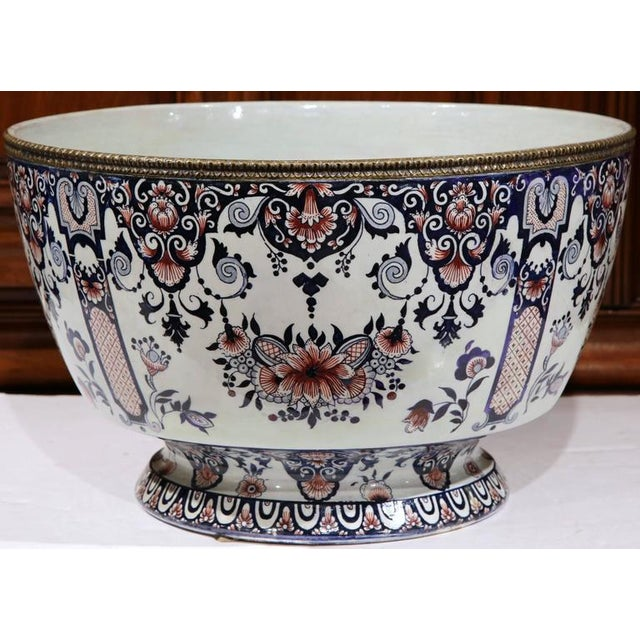 19th Century French Hand-Painted Faience Cachepot - Image 2 of 10
