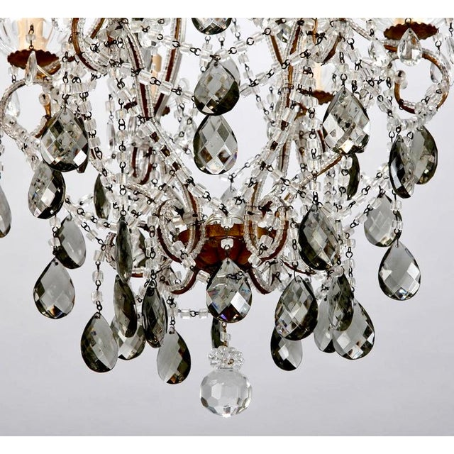 French Six Light All Crystal Beaded Chandelier With Smoke Color Drops - Image 4 of 10