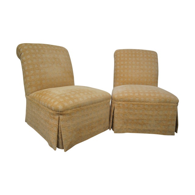 Image of Skirted Slipper Chairs - A Pair