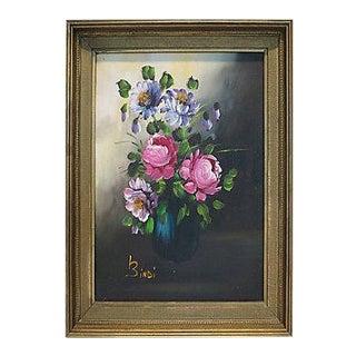 Vintage Original Italian Vibrant Pink Floral Still Life Oil Painting