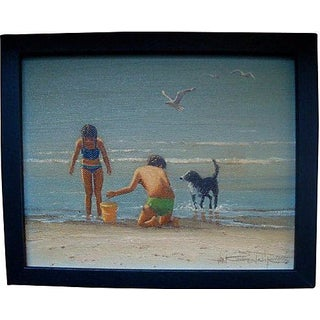 Seascape Oil Painting of Children Playing On Beach