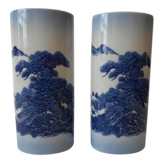 Hand Painted Japanese Vases - A Pair
