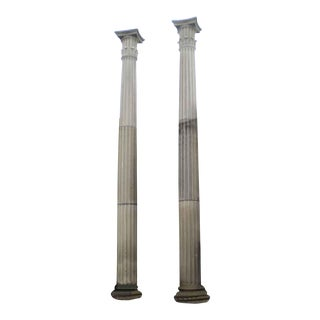 Tall Limestone Columns With Doric Capitals - a Pair