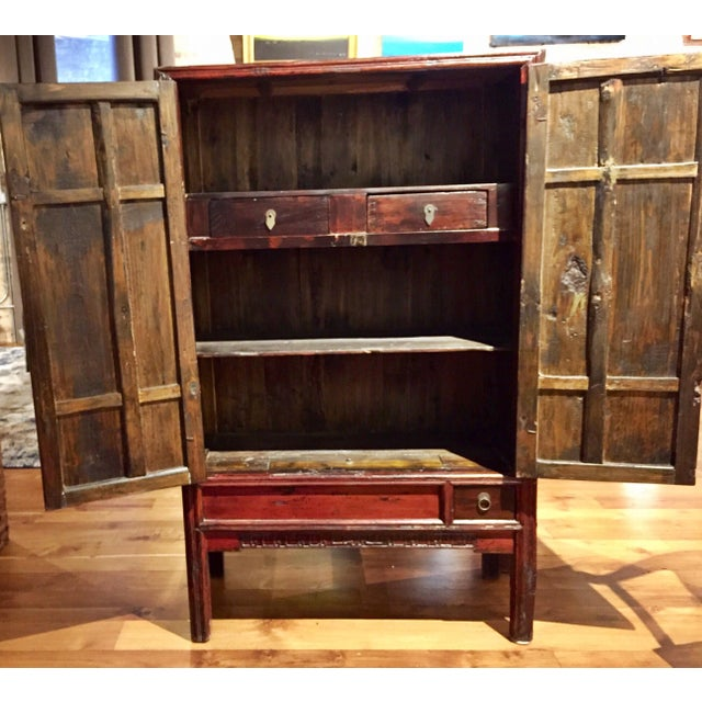 Antique Chinese Red Carved Cabinet - Image 7 of 9