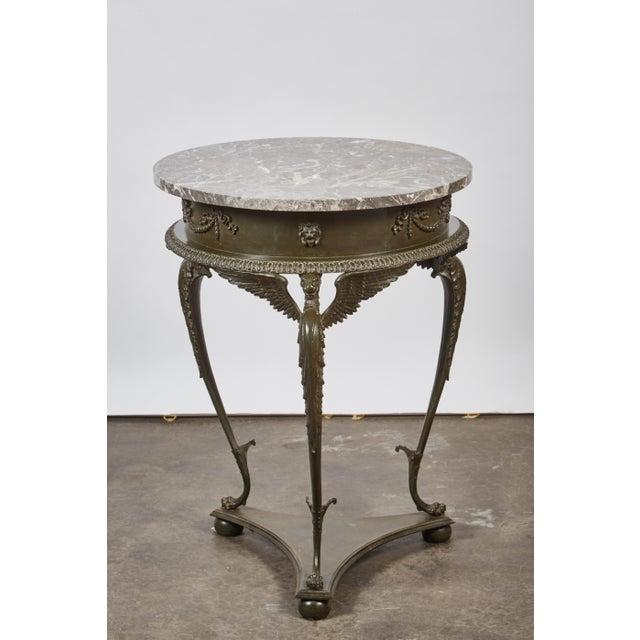 Image of Mid 19th Century three-legged Italian Dark Gray Marble Top Gueridon Table