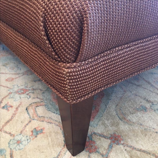 Reed and Leather Upholstered Ottoman - Image 5 of 7