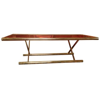 Brass & Smoked Glass Campaign Style Coffee Table