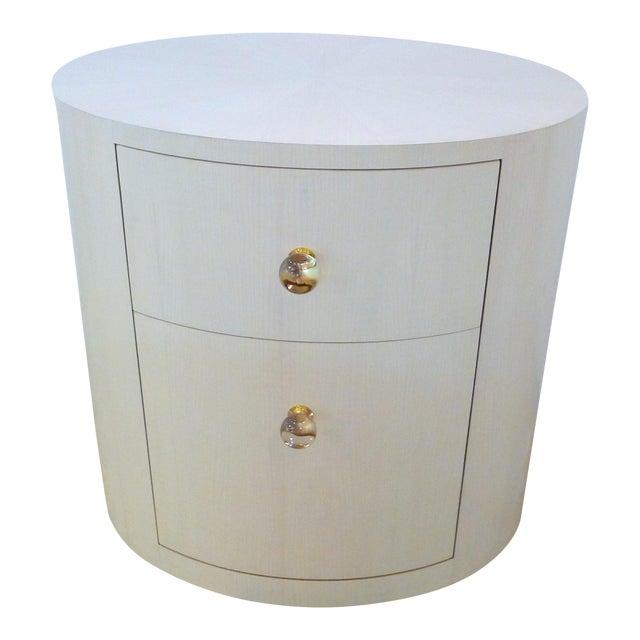 Italian-Inspired 1970S Style Oval Nightstand - Image 1 of 8