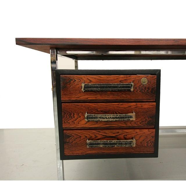 Mid-Century Floating Rosewood & Chrome Desk - Image 7 of 7