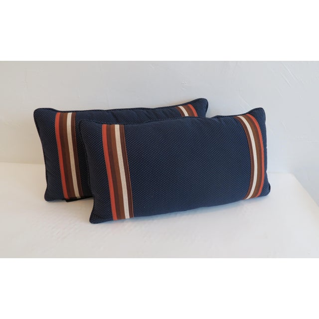 Custom Navy and Orange Stripe Pillows - a Pair - Image 2 of 4