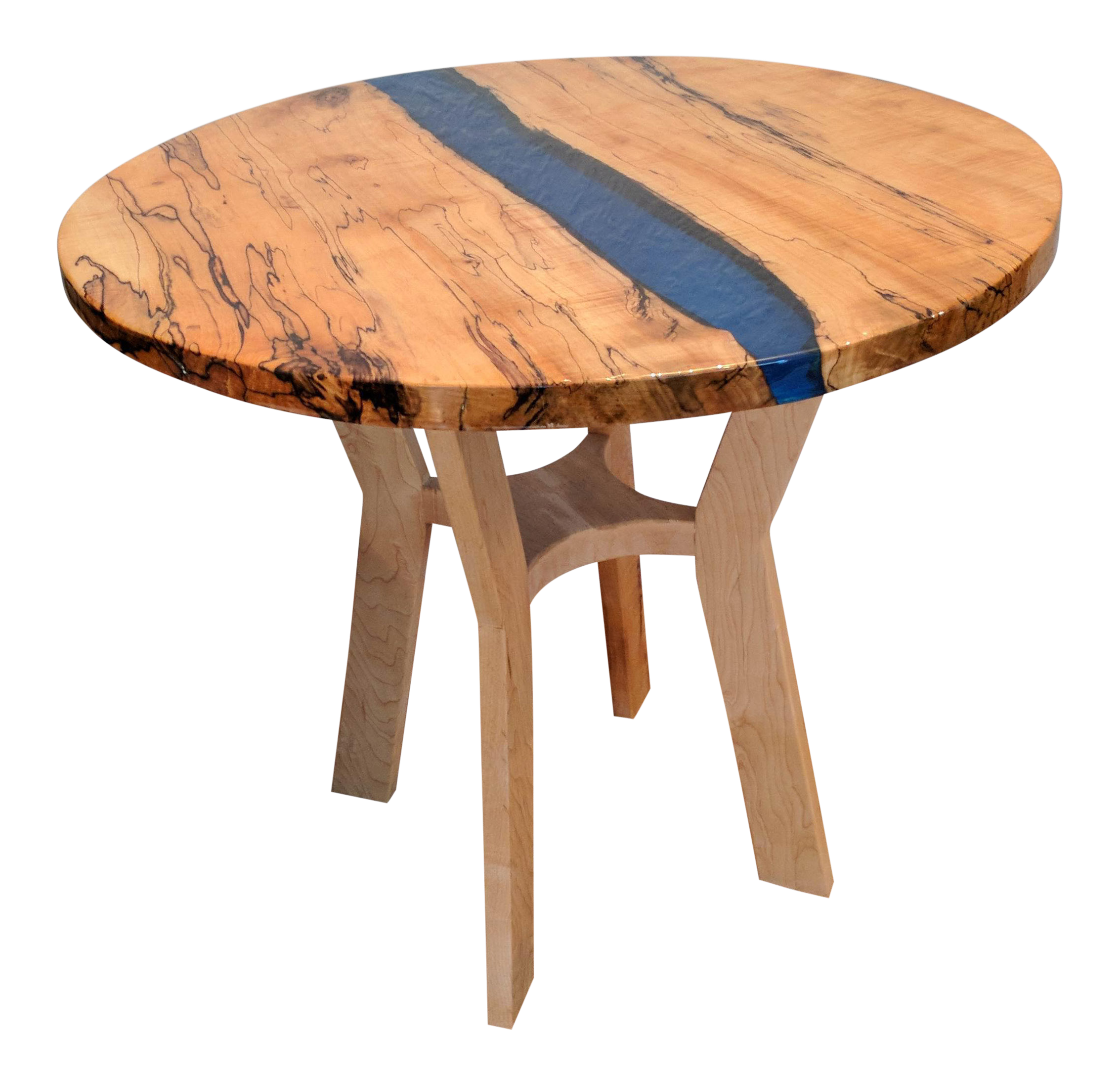 Spalted Maple Blue River Accent Table