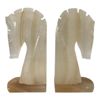 White Onyx Horse Head Bookends - A Pair