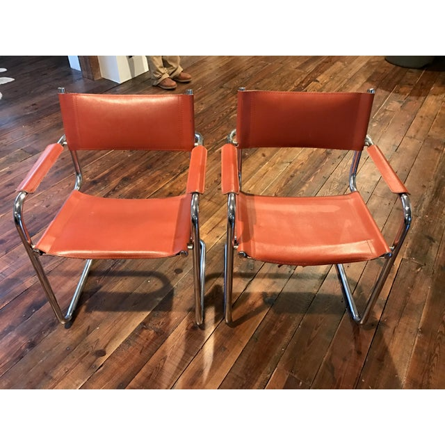 Mart Stam Thonet S34 Tubular Cantilever Chrome and Leather Chairs - a Pair - Image 2 of 5