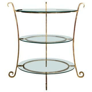 Three-Tier Glass & Gilt Metal Etagere Server/Stand