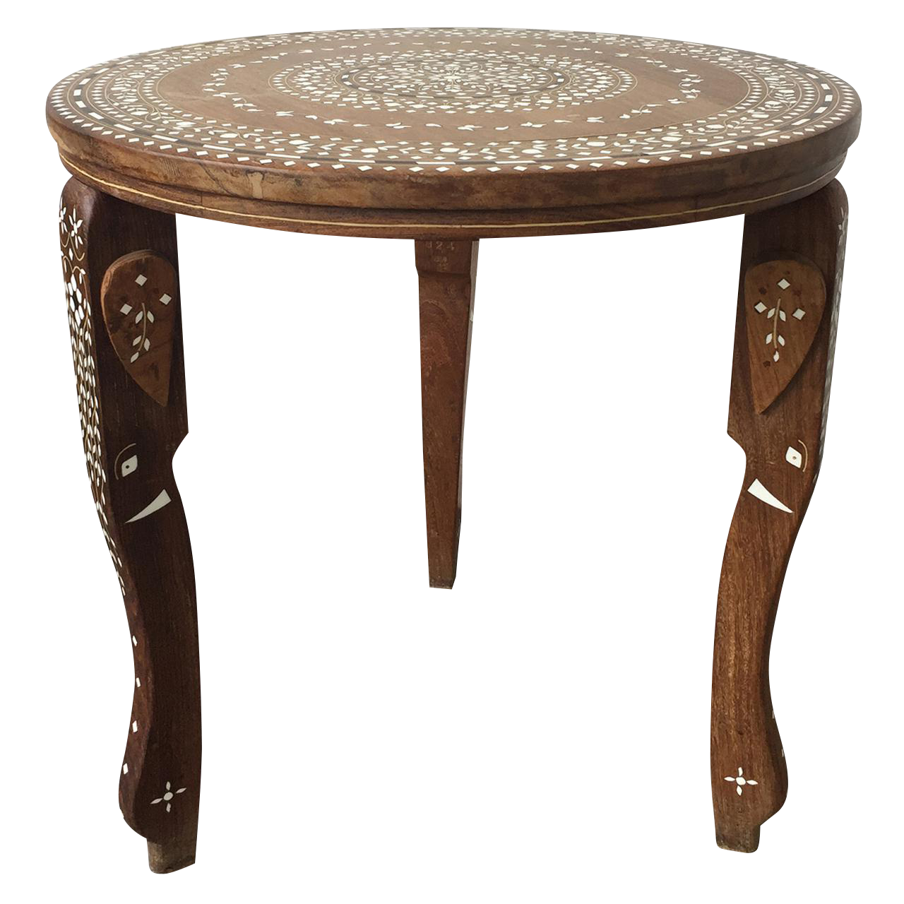 Decorative Bone Inlaid Indian Side Table