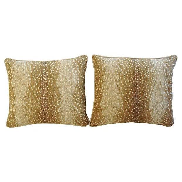 Designer Antelope Fawn Spot Velvet Pillows - Pair - Image 6 of 6