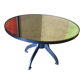 Crate & Barrel Industrial Steel & Mirror Dining Table