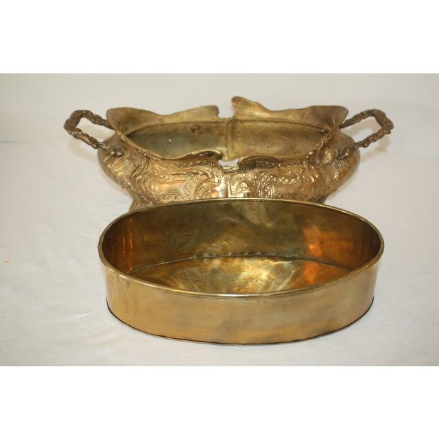 Image of Vintage Art Nouveau Brass Jardiniere