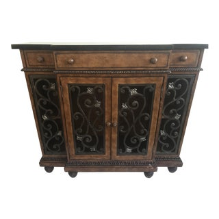 Fossil Stone, Wrought Iron, & Wood Credenza