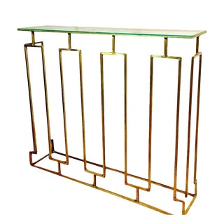 Mid-Century Solid Brass Glass Top Entry Table