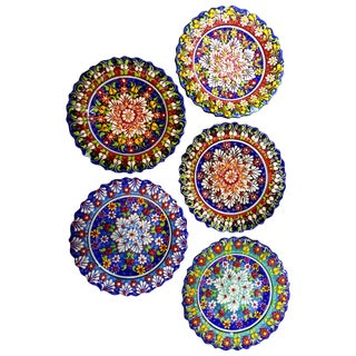 Multicolor Turkish Tile Plates - Set of 5