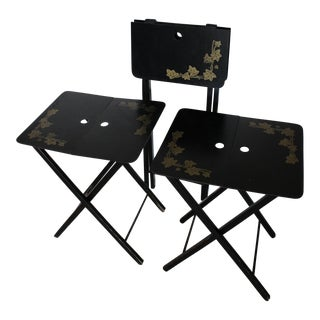Vintage Woodcract Inc. Black Lacquered Folding Tray Tables - Set of 3