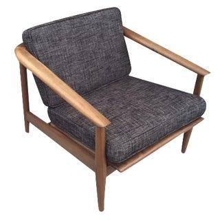 Mid-Century Gray Tweed Lounger