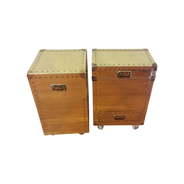 Studded Brass Trunk Sidetables - A Pair - Image 1 of 9