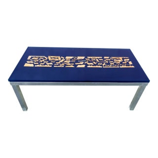 Modern Blue & Gold Resin Coffee Table