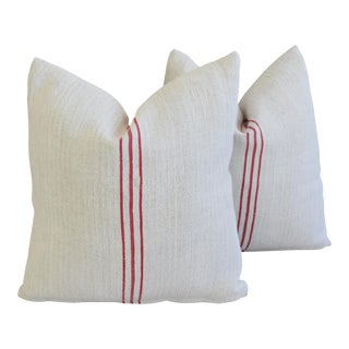 Red Stripe French Homespun Textile Pillows - A Pair