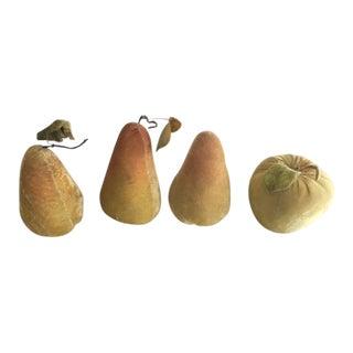 Velvet Pears & Apple Figurines - Set of 4