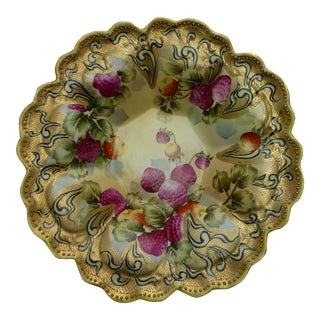 Nippon Japanese Antique Hand Painted Gold Leaf Fruit Bowl