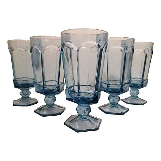 Vintage Powder Blue Footed Iced Tea Glasses - S/5 - Image 1 of 4