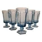 Image of Vintage Powder Blue Footed Iced Tea Glasses - S/5